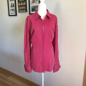 Moda International Red White and Blue Button Down
